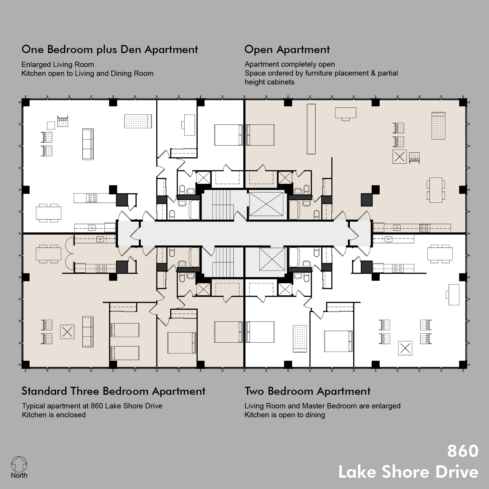 860 floor plans including standard apt for 4 apartment building plans