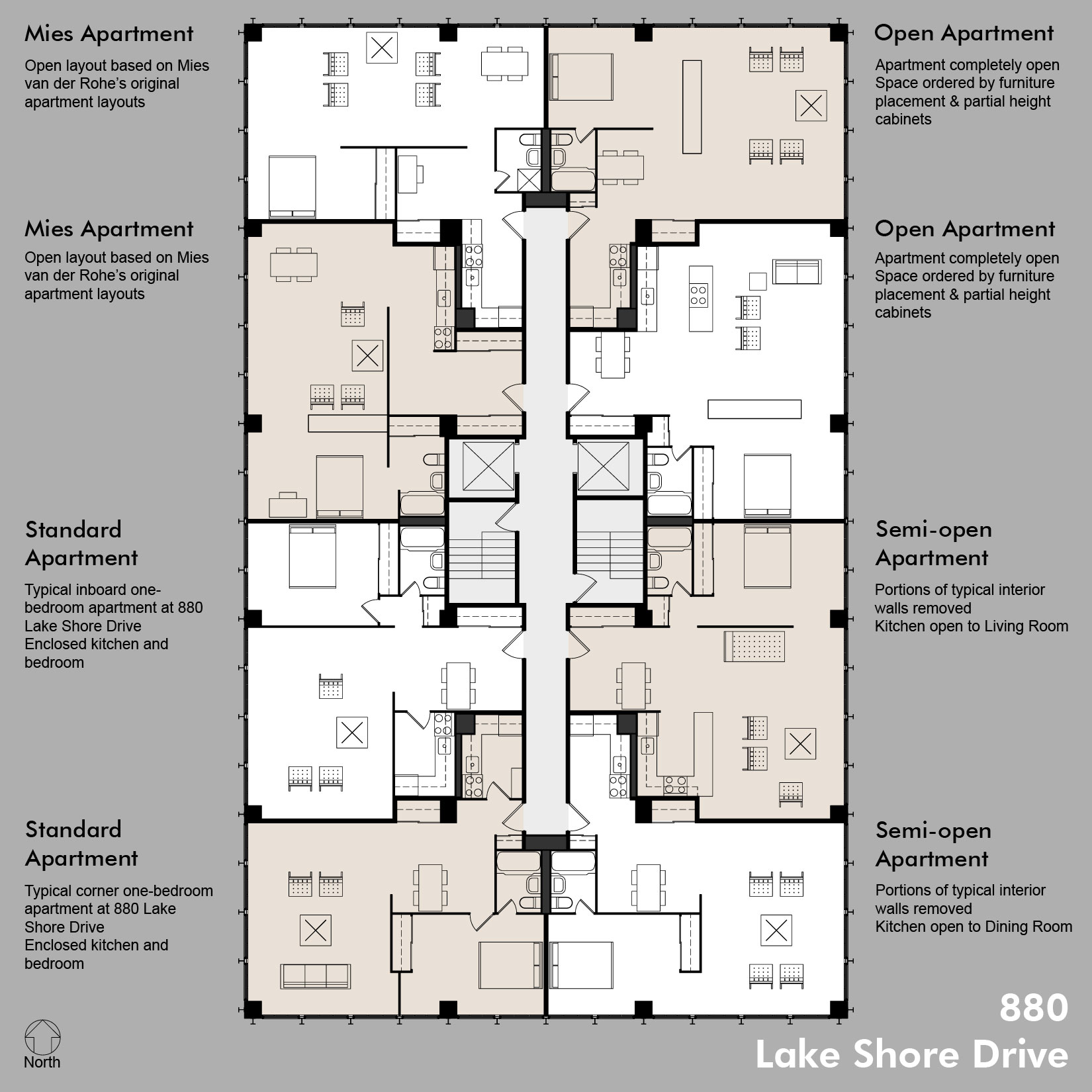 880 floor plans including standard apt - Architectural plan of two bedroom flat with dining room ...
