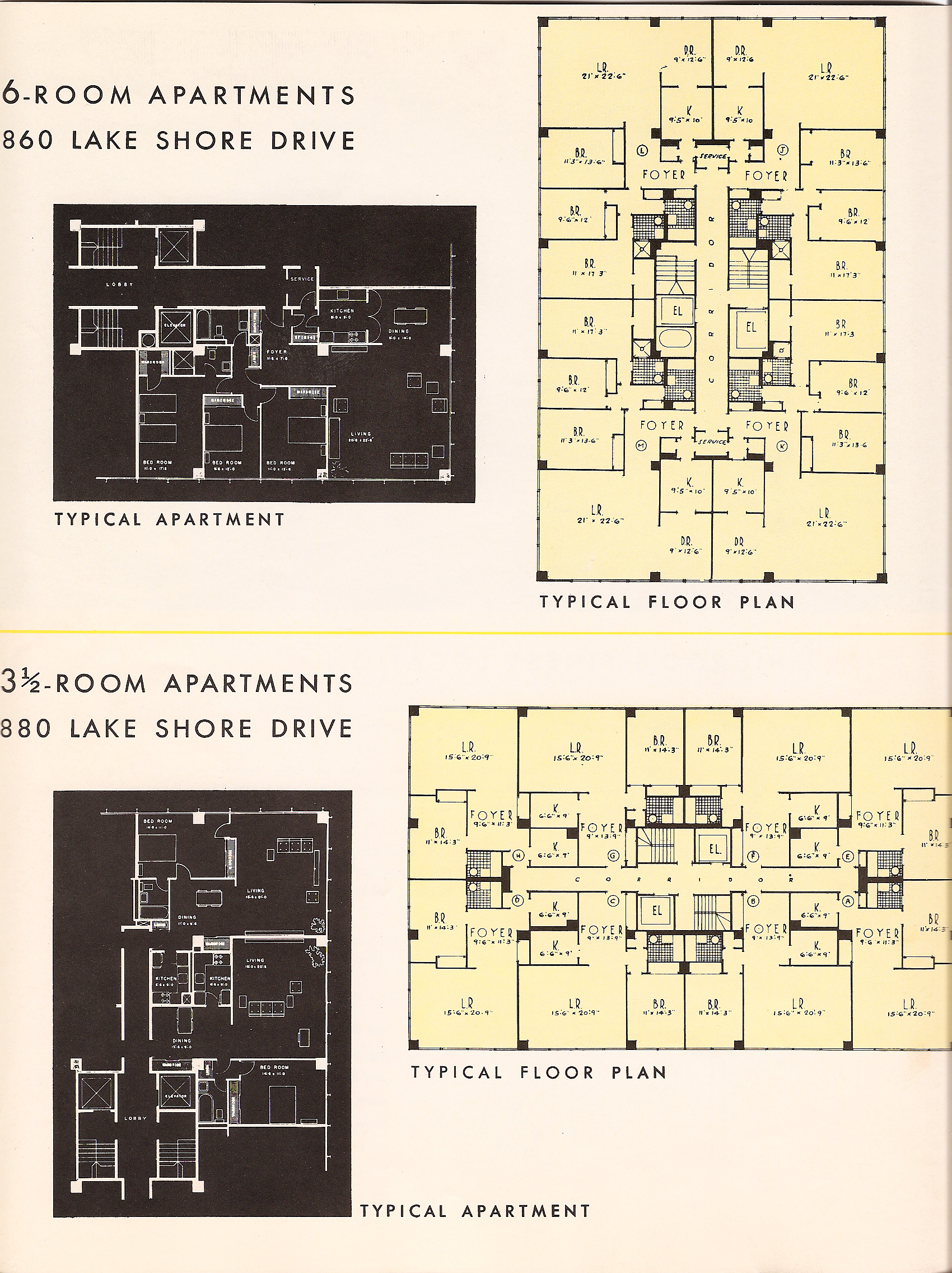 Floor plans from the glass house brochure 2 for 1400 n lake shore drive floor plans